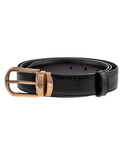 Montblanc - Curved Horseshoe Steel Red Gold PVD Pin Buckle Belt - ( 114413 )