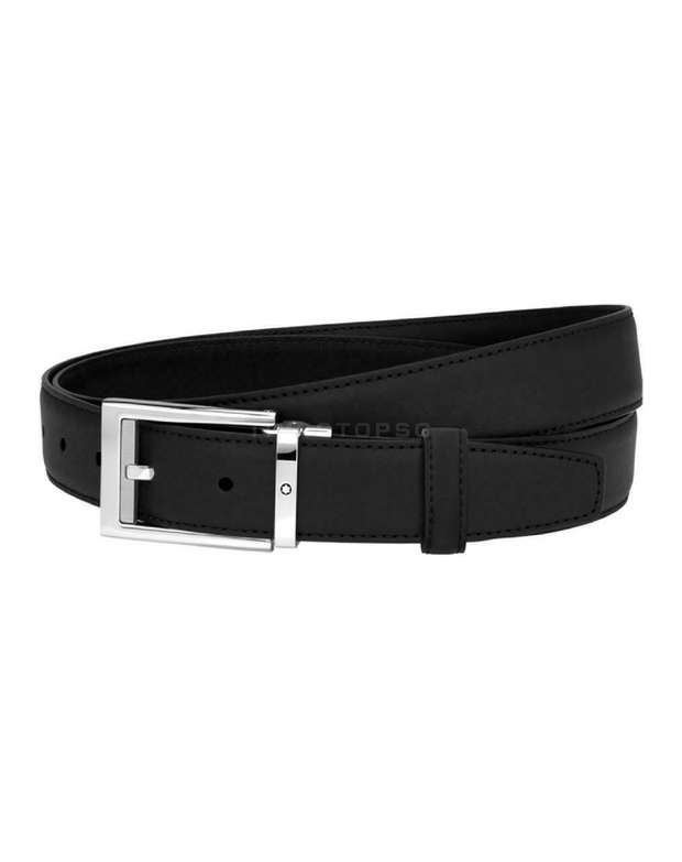 Montblanc - Men's Black Leather Cut-To-Size Business Belt ( 123895 )