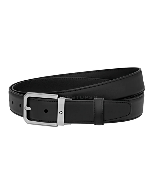 Montblanc -  Trapeze Brushed Stainless Steel Pin Buckle Belt ( 124208 )