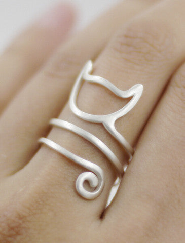 Sterling Silver Cat Spiral Ring - OVER 50% OFF TODAY