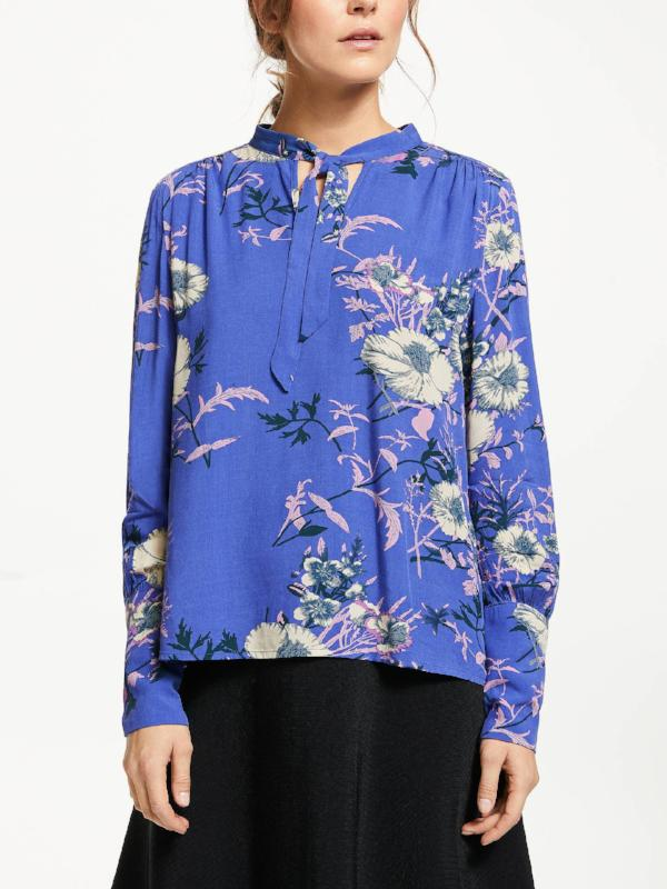 Floral Tie Neck Blouse - Lutsia Boutique