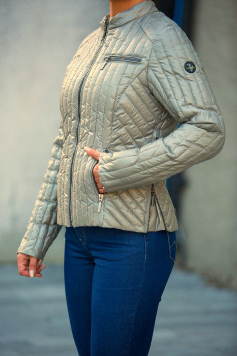 C-Ro Etage Quilted Womens Jacket, Light Green - Lutsia Boutique