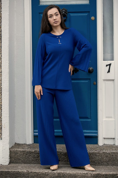 Royal Blue Wide Leg Trousers and Top Co-ord Set - Lutsia Boutique