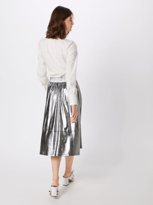 Metallic Midi Skirt Silver
