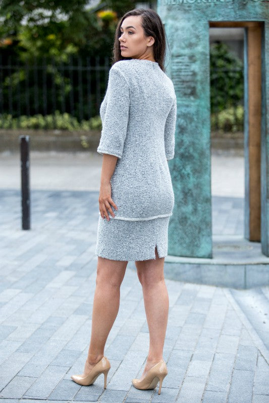Grey Wool Blend Tweed Dress - Lutsia Boutique