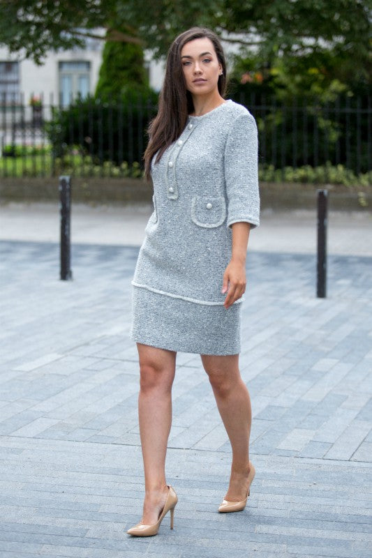 Grey Wool Blend Tweed Dress