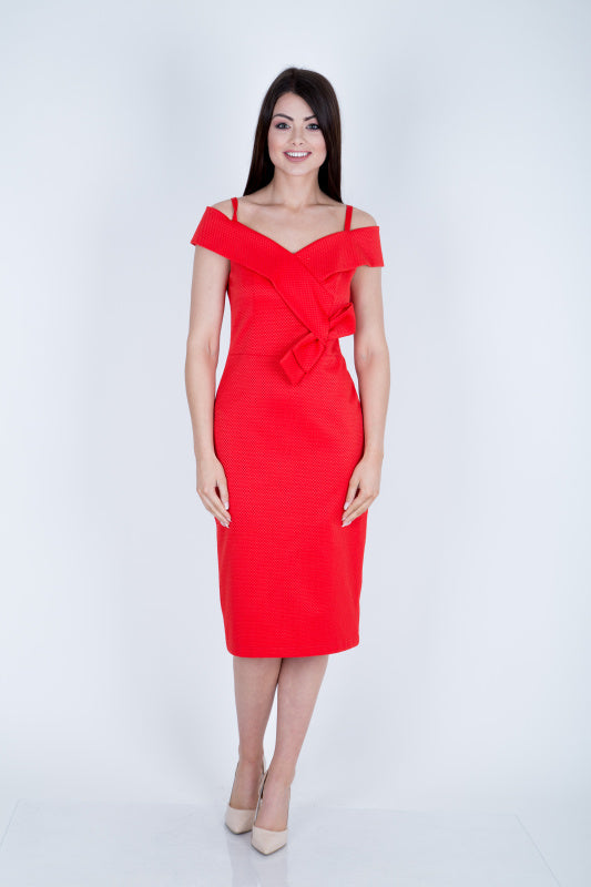 Bardot Neckline Red Bow Pencil Dress