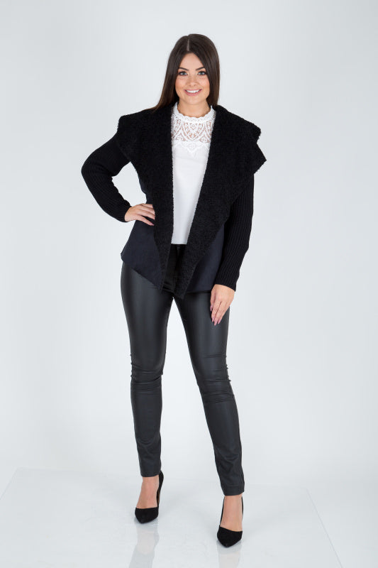 Black Faux Shearling Waterfall Cardigan