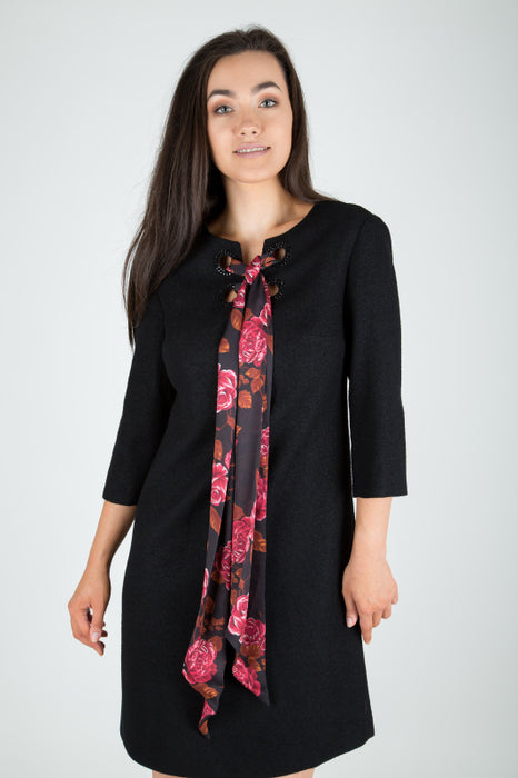 Black Floral Tie Front Shift Dress - Lutsia Boutique