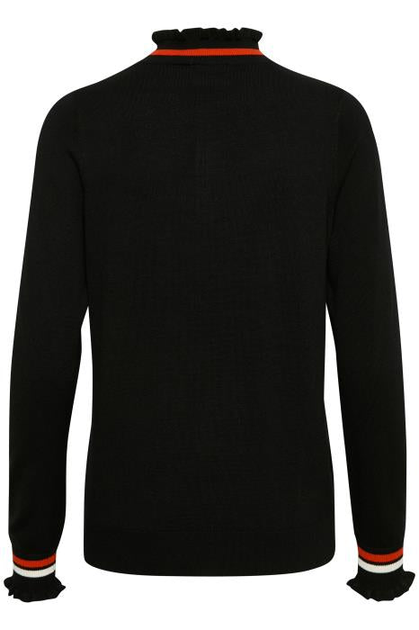 Black High Neck Jumper with Zip - Lutsia Boutique