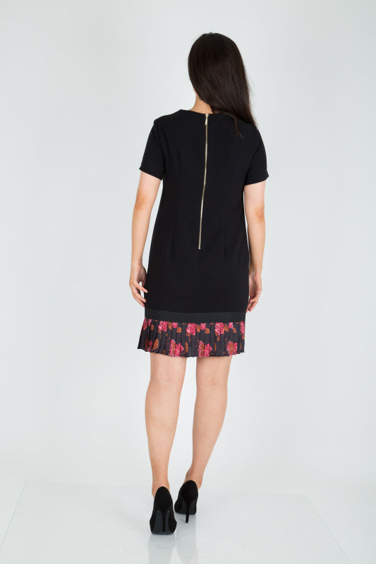 Black Short Sleeve Shift Dress - Lutsia Boutique