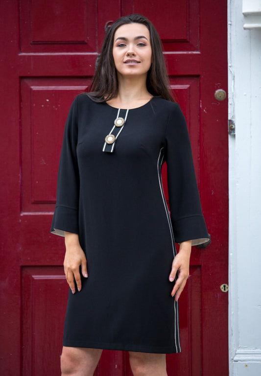 Black Ribbon Trim Shift Dress