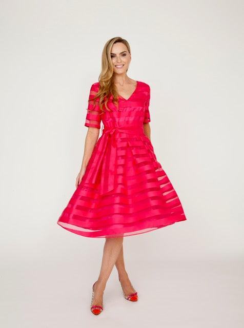 Fit and Flare Judy Dress, Fuschia Pink