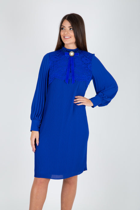 Camelot Blue High Neck Plisse Pleated Dress - Lutsia Boutique