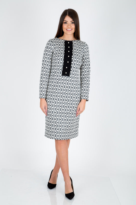 Camelot Monochrome Geo Print Pencil Dress - Lutsia Boutique