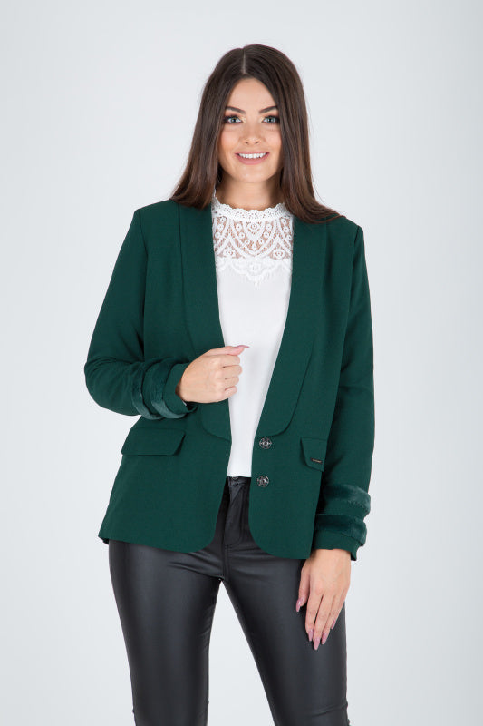 Estefania Green Fur Trim Blazer