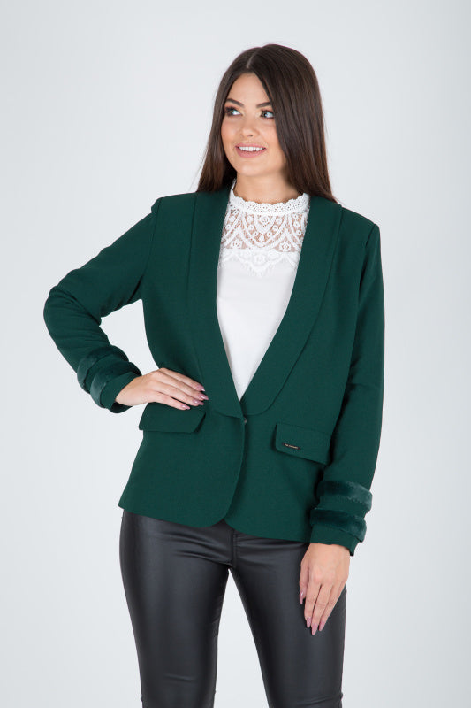 Estefania Green Fur Trim Blazer - Lutsia Boutique