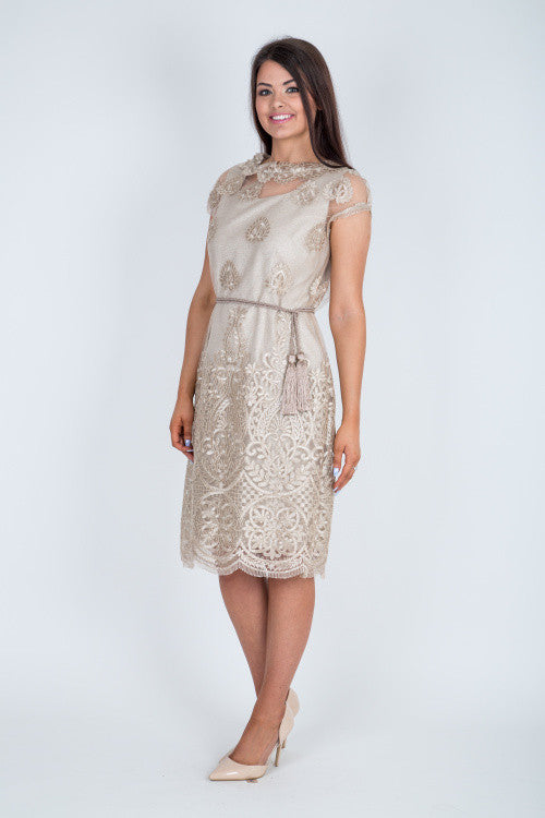 4c1921f97b13 Gold Lace Overlay Pencil Dress