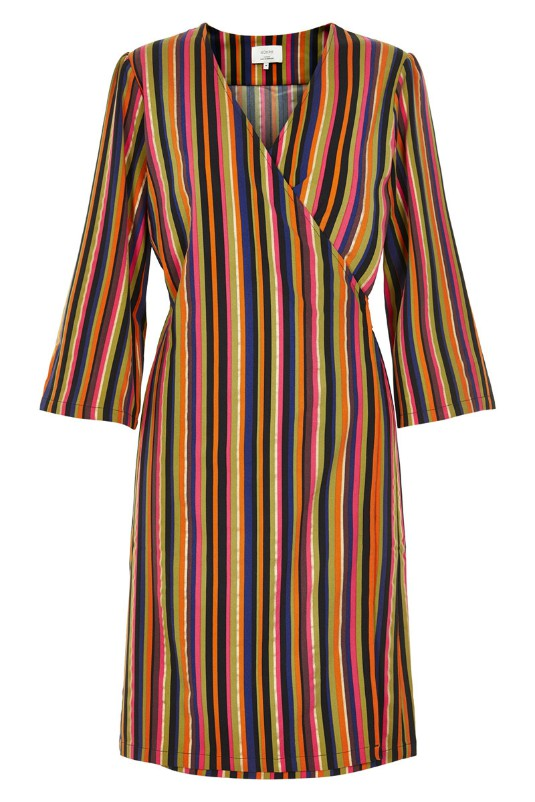 Gracen Multicolour Striped Wrap Dress - Lutsia Boutique