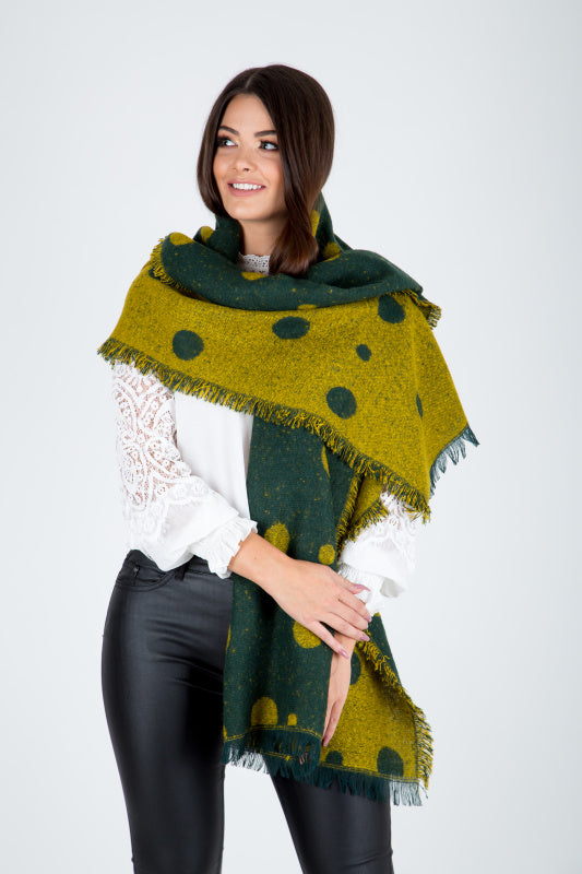 Green Polka Dot Blanket Scarf - Lutsia Boutique