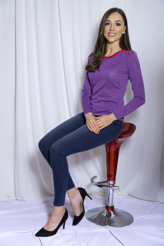 Haylie Purple Metallic Jumper