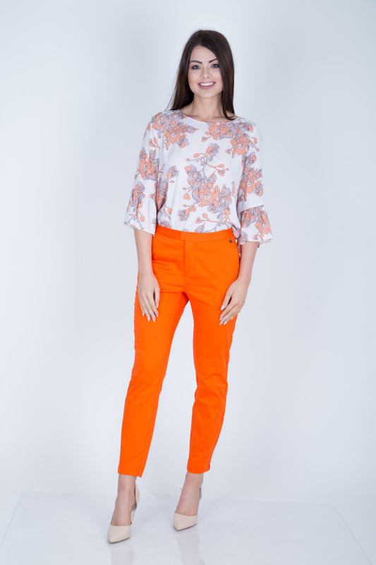 Honeyberry Slim Fit Trousers, Orange