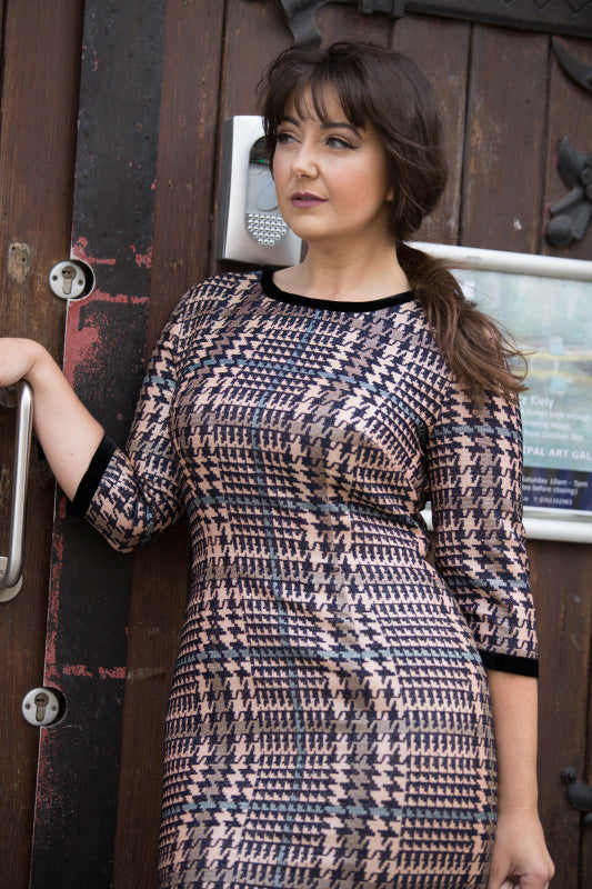 Cropped Sleeve Houndstooth Print Dress