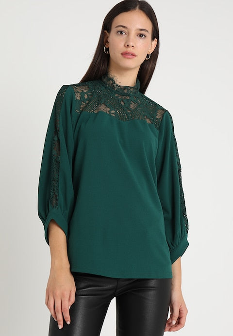 Green Lace Insert Blouse