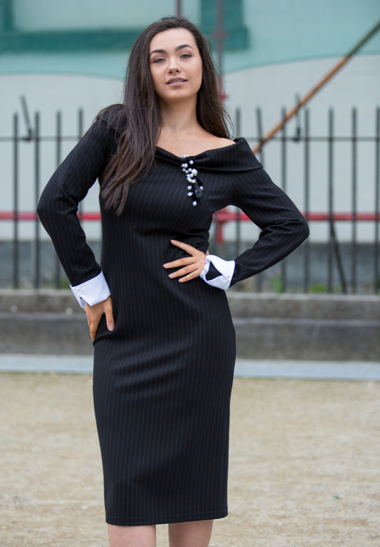Black Long Sleeve Pinstripe Midi Dress