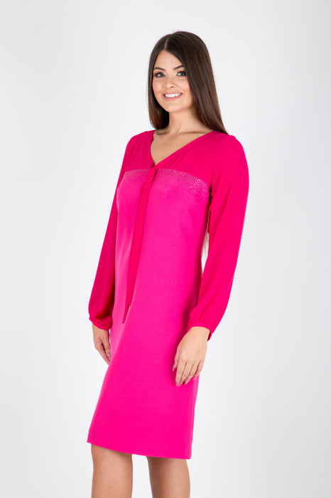 Long Sleeve A line Pink Dress - Lutsia Boutique