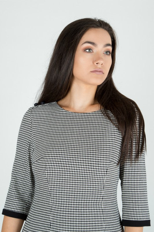 Monochrome Houndstooth Pencil Dress - Lutsia Boutique
