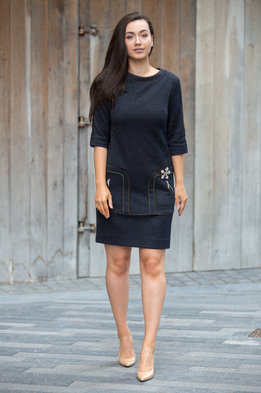 Badoo Navy Blue Shift Dress With Sleeves