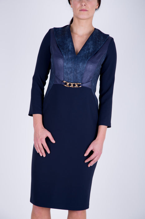 Navy Print and Faux Leather Panel Dress - Lutsia Boutique