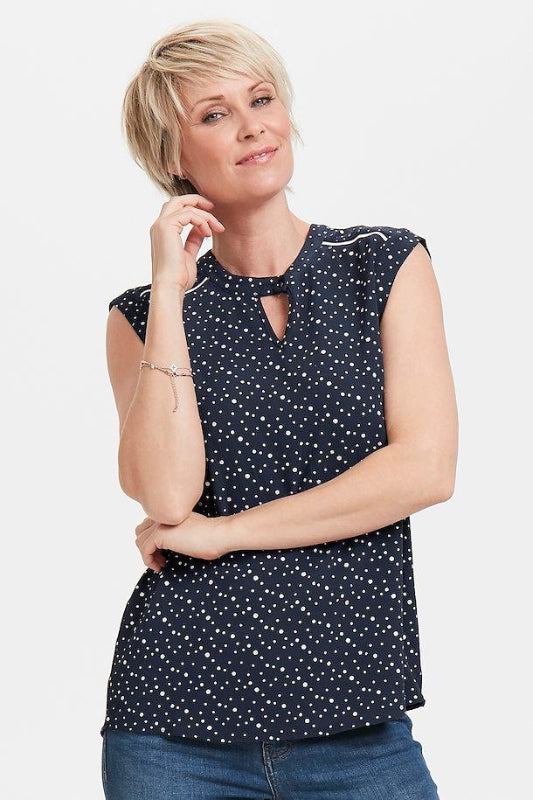 Navy Spot Print Sleeveless Top