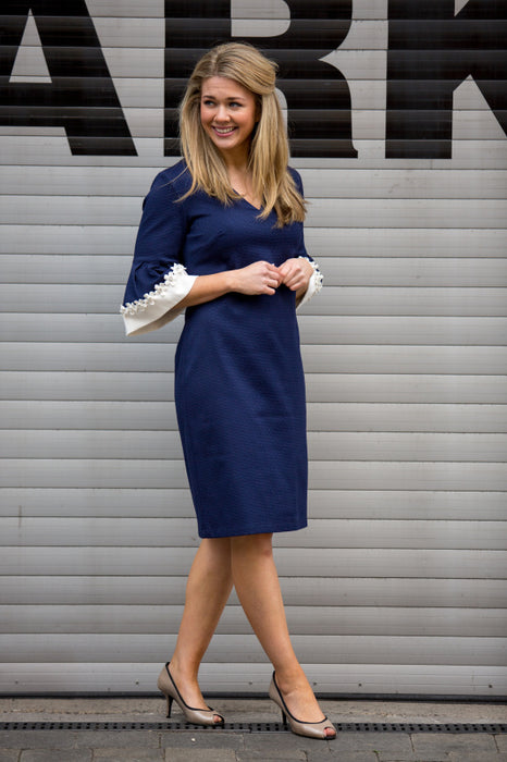 Navy Bell Sleeve Dress - Lutsia Boutique