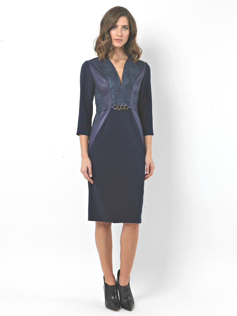 Navy Print and Faux Leather Panel Dress