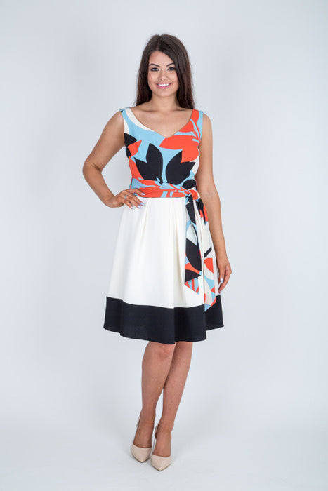 Floral Print Fit and Flare Dress - Lutsia Boutique