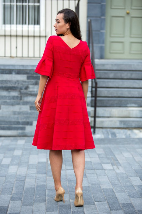 Red Fit and Flare Lady Dress - Lutsia Boutique