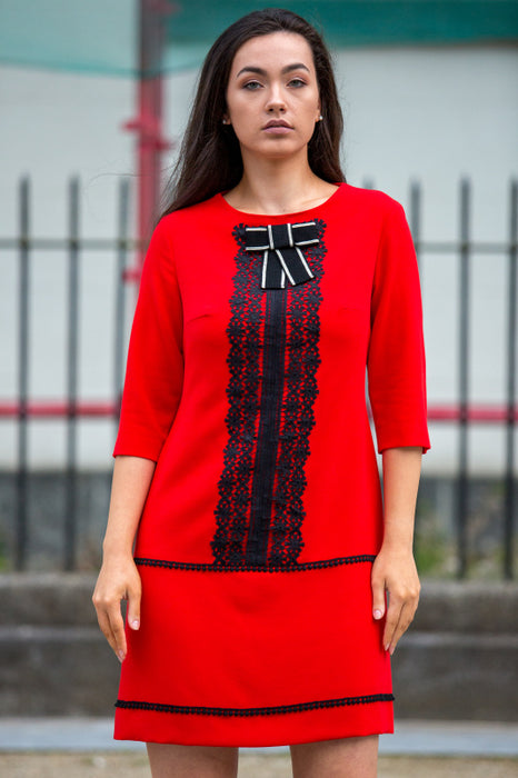 Badoo Red Lace Trim Dress - Lutsia Boutique