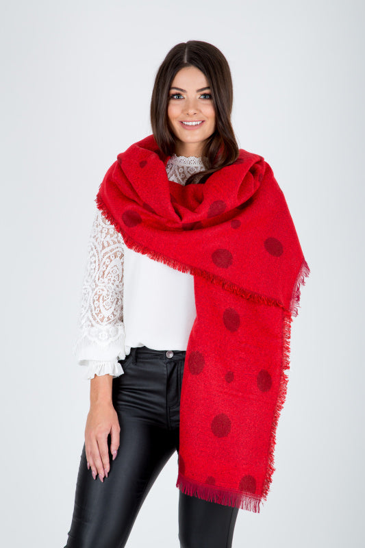 Red Polka Dot Blanket Scarf