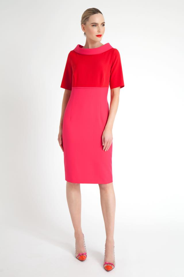 Red and Pink Barca Pencil Dress - Lutsia Boutique