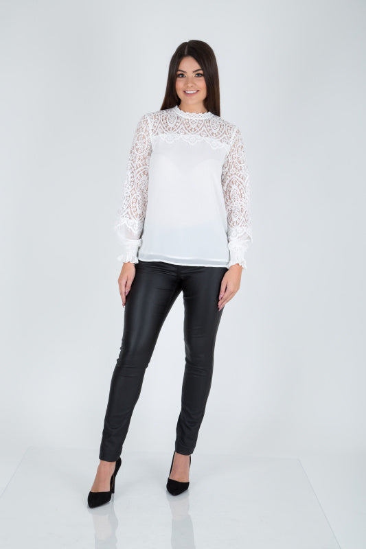 Salome Lace Blouse, White or Black