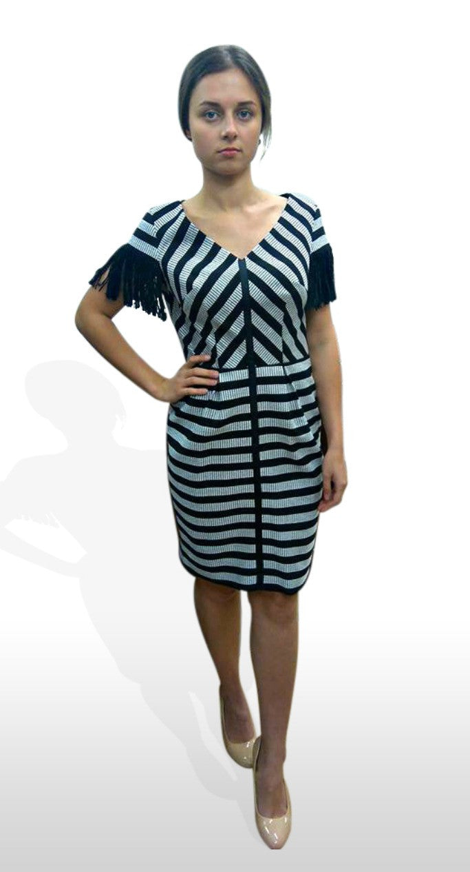 3d8ae07f0498 Black and White Striped Pencil Dress