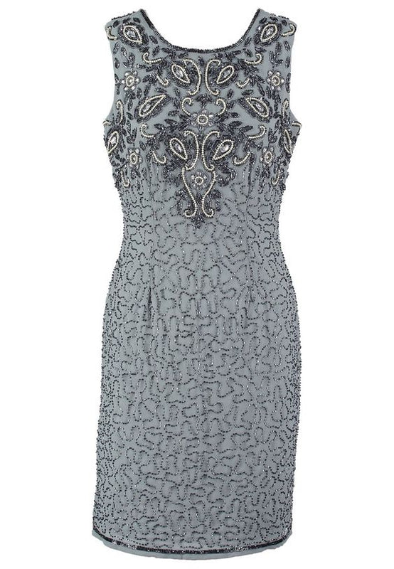 Grey Beaded Dress - Lutsia Boutique