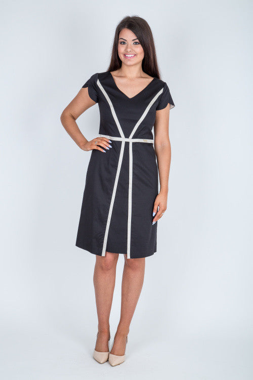 5a6d9d37a99f Black Cotton A Line Dress
