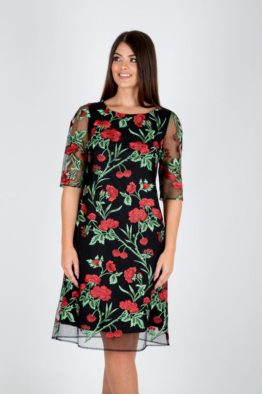 ebce279a23e6 Black Floral Embroidered Dress