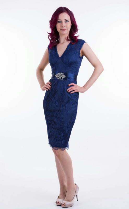 V Neck Sleeveless Lace Dress in Blue and Red Colour - Lutsia Boutique