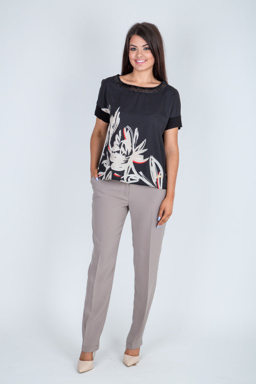Straight Leg Taupe Trousers