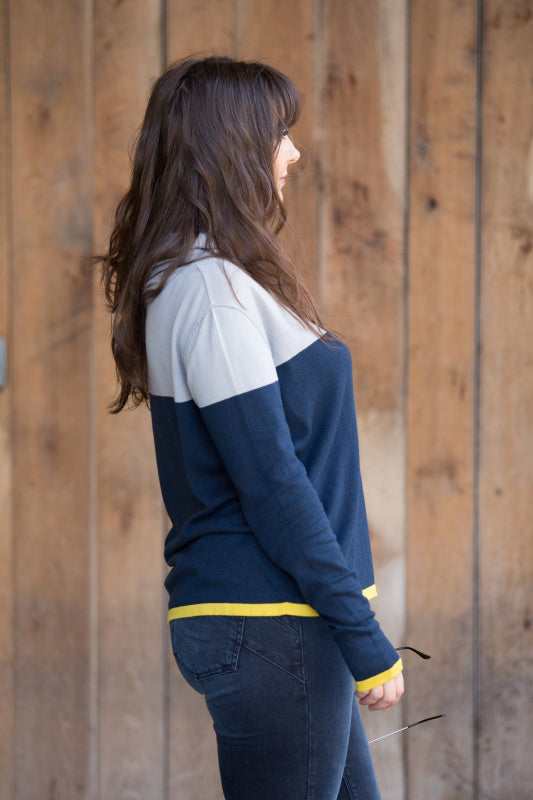 Colour Block Roll Neck Sweater