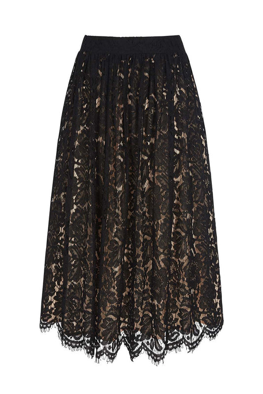 Midi Lace Skirt with Contrast Lining - Lutsia Boutique